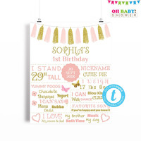 First Birthday Sign Pink and Gold, First Birthday Template, Pink and Gold Birthday Poster, Girl Editable ANY AGE Printable 16x20 8x10 BRS
