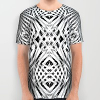 White Geometric Weave All Over Print Shirt by Webgrrl