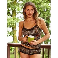 Wilderness Dreams Women's Mossy Oak Break-Up Camo Black Lace-Trimmed Boy Short Pantie