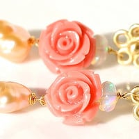 Upcycled Salmon Rose Ethiopian Opal Blush Freshwater Pearl 14K Gold Flower Dangle Earrings