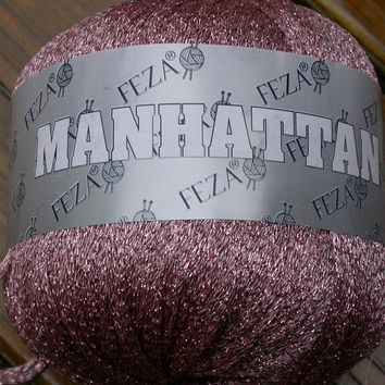 Yarn, Feza Manhattan, Glitzy, Sparkly Metallic Ribbon, 1 ball Mauve, Navy  Blue, Green or Red