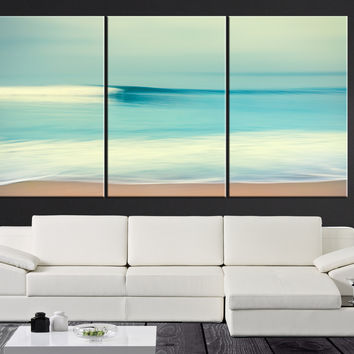 Large Wall Art Turquoise Sea and Beach Canvas Print - Contemporary 3 Panel Triptych Seascape Canvas Art Large Wall Art - MC102