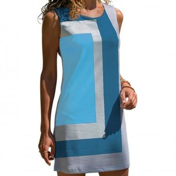 Sky Blue Color Block Geometric Sleeveless Sundress