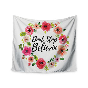 """KESS Original """"Don't Stop Believin"""" Coral White Wall Tapestry"""