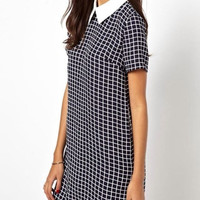 Casual Plaid Swallow Check Turn-down Collar Straight Dress