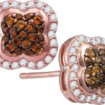 10kt Rose Gold Womens Round Cognac-brown Colored Diamond Quaterfoil Cluster Stud Earrings 1/2 Cttw