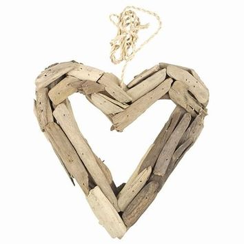 Driftwood Heart Wreath -- Small 8-1/2-in