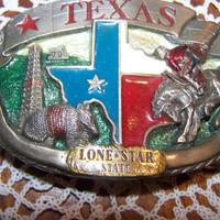 Vintage 1988 C J Texas Lone Star State Belt Buckle, Cowboy, cowgirl, Ranch, Western Collectible, made in USA