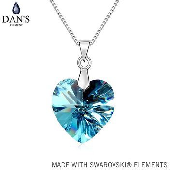 DAN'S ELEMENT Real Austrian Crystals From SWAROVSKI White Gold Color Heart pendant necklace For Women Fashion jewelry #99350