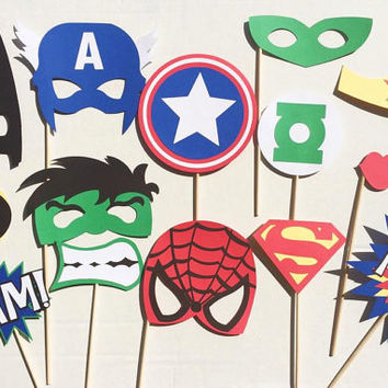 Super Hero Birthday Photo Booth Props; The Justice League Birthday; Batman Birthday Party; Superman Photobooth Props; Marvel