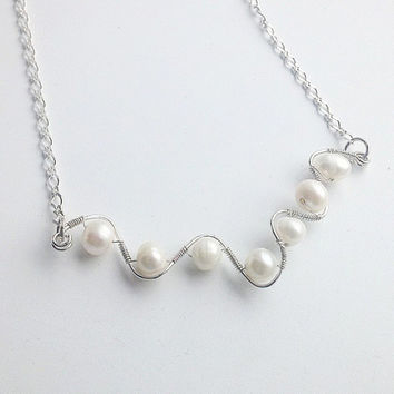 Freshwater Pearl Sterling Silver Wire Wrap Necklace, Sterling Silver Jewelry, Pearl Jewelry, Bridal Jewelry, 0.925 Sterling Silver