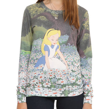 Disney Alice In Wonderland Daisies Girls Pullover Top