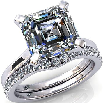 Darci Asscher Moissanite 4 Prong Cathedral Solitaire Engagement Ring