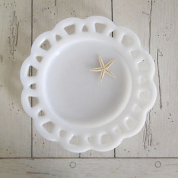 Milk Glass Plate Lace Edge Wedding Shabby Cottage Chic Decor