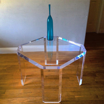 "Mid Century Modern Charles Hollis Jones Lucite Acrylic Thick 30"" Coffee End Side Table 1970's Mod"