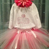 Birthday Tutu and Rhinestone Bling T-Shirt Outfit with Flower Headband