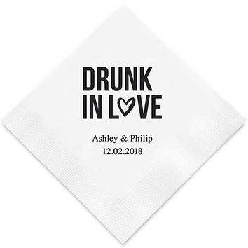 Drunk In Love Printed Paper Napkins (Sets of 80-100)