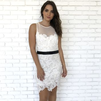 Black Tie Crochet Dress in Ivory