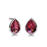 Pink topaz earrings, pear shape earrings, bezel, white gold, yellow gold, stud earrings, pink, bridal jewelry, formal earring, topaz jewelry