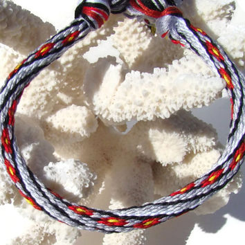 Cherish Collection-- Flower pattern friendship kumihimo bracelet with or without purchased magnetic clasp-- your choice