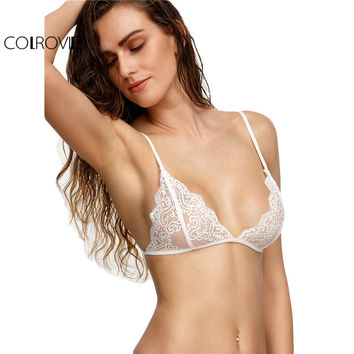 COLROVIE Women Lace Blouses Solid Bra Top Woman's Fashion 2017 Crop Tops White Scalloped Lace Triangle Bralet
