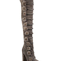 Aquazzura - Ulyana Mink Fur Pompom & Suede Over-The-Knee Block-Heel Boots - Saks Fifth Avenue Mobile