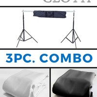 Combo 10x10 White & Black Diamond Cloth Backdrops With Background Stand - COM137