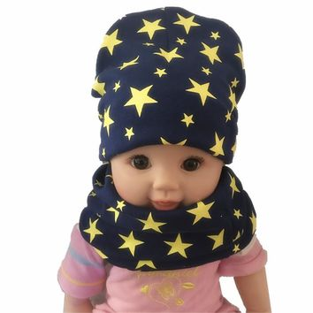New Cotton Sewing Ending Star Scarf Hat boys girls children caps winter warm kids hats collars suits sets Fashion unisex beanies