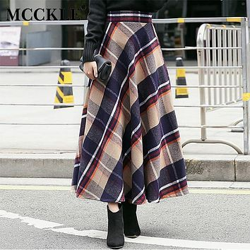 MCCKLE Women's Skirt Thick Woolen Plaid Europe Style Winter Empire Maxi Skirts Long Women Pleated Wool Plaid Women Skirts