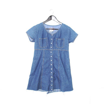 dark DENIM mini dress early 90s vintage dresses snap up front frayed jean dress small