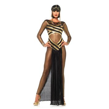 2017 New Women's Goddess Isis Costume Sexy Gold Mesh Insert Halloween Costume Adult Costume Egyptian Cleopatra Royal Cosplay
