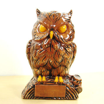 Retro Ceramic Owl Bank - Secret Money Stash -  Cash Hiding Spot
