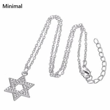Minimal Metal Alloy David Star Hexagon Crystal Pendants Necklaces For Women Long Chain Colier Geometric Fashion Jewelry