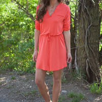 Casual Friday 3/4 Sleeve Dress - Coral