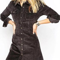 Grey A-line Western Denim Shirt Dress - US$31.95 -YOINS