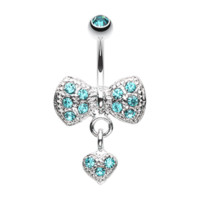 Blue Dangle Heart Bow-Tie Belly Button Ring Navel Ring Body Jewelry