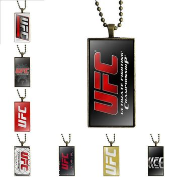 Brand Bronze Color Jewelry Fashion Statement Necklace Glass Necklaces Pendants For Lovers Girl Friend Best Gift Ufc Logo
