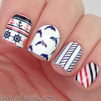 Born Pretty 2 Patterns/Sheet  Anchor Stripe Nail Water Decals Sticker Nail Art Water Transfer Stickers BP-W07