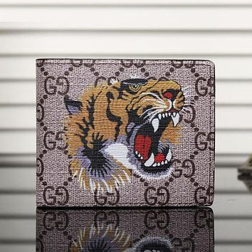Perfect Gucci Man Leather Purse Wallet For Tiger Angry Cat Snake