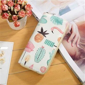 M205 Cartoon Women Wallet Cute Small Fresh Leather Long Wallet Students Wallet Fruit, Bird Restoring Ancient Ways Quality Fabric