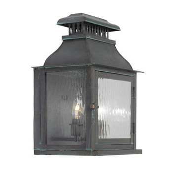 Elk Lighting Williams Towne 1300-OB Outdoor Wall Lantern in Solid Brass & Verde Patina Finish