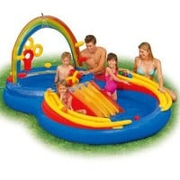 Amazon.com: Intex  117-by-76-by-53-Inch Rainbow Ring Pool Play Center: Toys & Games