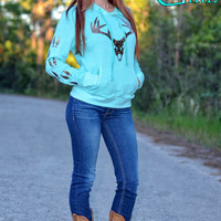 women's hunting mint hoodie sweater with glitter big buck skull and running buck tracks up sleeve