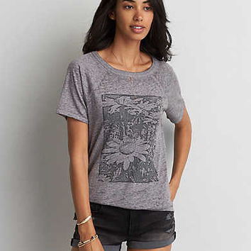 AEO Graphic Raglan T-Shirt, Light Gray