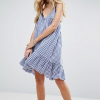 Milk It Vintage Cami Dress With Peplum Hem In Gingham at asos.com
