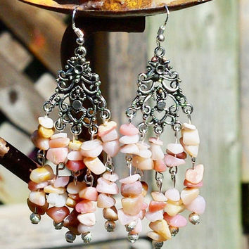 Pink Opal Earrings ~ Natural Opal Stone Chandelier Earrings ~  One of a Kind ~ Birthday Gift ~ Bohemian Jewelry ~ Boho Style ~ Anniversary
