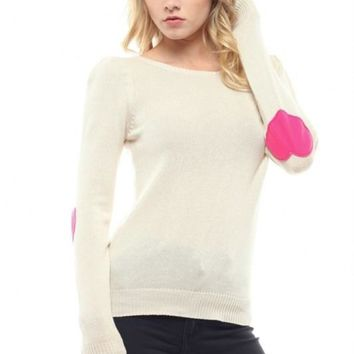 Watch Me Heart Elbow Patch Sweater