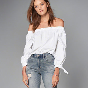 Womens Off-The-Shoulder Tie Sleeve Top | Womens Tops | Abercrombie.com