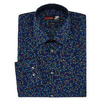 JF J.Ferrar Easy-Care Stretch Long Sleeve Broadcloth Floral Dress Shirt - Slim - JCPenney
