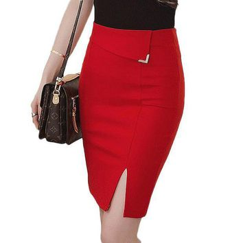 CREYONHC Autumn 5XL Plus Size Slim Office Skirt Faldas Women Sexy Elastic High Waist Pencil Skirt Step Office Formal Skirt Saias Skirts